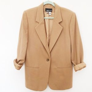 Sag Harbor 100% Wool Oversized Tan Blazer Jacket